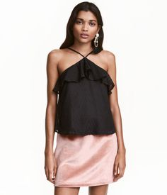 Flounced Chiffon Camisole Top | Black | Ladies | H&M US