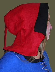 Medieval Clothing and Footwear- 15th Century Linen Flemish Hood $26.95 lots of color combinations!