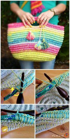 This Crochet Rainbow Rope Basket Is A Fabulous Free Pattern Bag Pattern Free, Crochet Basket Pattern, Crochet Patterns, Diy Crochet Rope Basket, Crochet Handbags, Crochet Purses, Crochet Gifts, Crochet Yarn, Crochet Shell Stitch