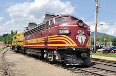 Conway Scenic Railroad's EMD F7A painted in Boston and Maine Railroad color scheme.