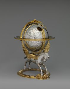 celestial globe with clockwork, vienna, 1579