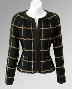 CHANEL 09A Gold & Black Grosgrain Trim Zip Jacket…