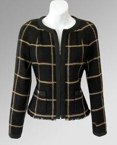 CHANEL 09A Gold & Black Grosgrain Trim Zip Jacket…