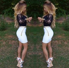 Cute outfit Celebrity Hairstyles, Girls Night Out, Dress Me Up, Get Dressed, Skirt Fashion, Dress Skirt, White Shorts, Cute Outfits, My Style