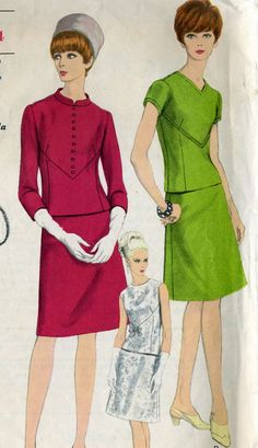 Vintage 60s Vogue 6845 Misses Two Piece Dress with by RomasMaison