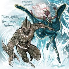 Amalgam Tigershark and Maelstrom by LucianoVecchio on DeviantArt Superhero Characters, Comic Book Characters, Comic Character, Comic Books Art, Comic Art, Marvel Comics Art, Marvel Heroes, Black Comics, Fanart