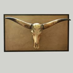 Skull with longhorns on a wall panel with frame Longhorns, Skulls, Moose Art, Frame, Wall, Animals, Decor, Animales, Decoration