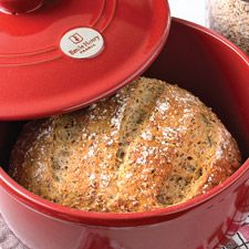 No-Knead Harvest Grains Bread: King Arthur Flour.  Sounds good with some sharp cheddar and fresh fruit.