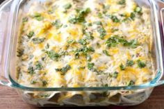 Salsa Verde Chicken Enchiladas: could use low fat sour cream and cheese