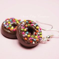 Chocolate Rainbow Donuts Miniature Food Jewelry Polymer Clay Handmade Earrings by Sweet Clay Creations