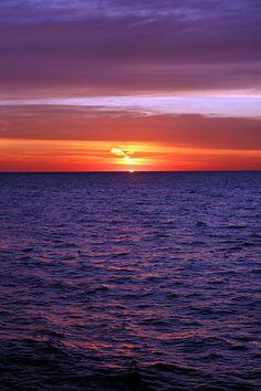 sunrise over Lake Michigan, North Avenue Beach, Chicago, Illinois