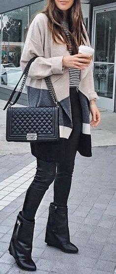 #winter #fashion / oversized cardigan + stripes