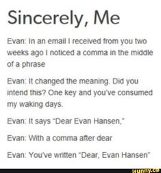 "omg omg omg // *sings ""dear evan hansen"" to the tune of ""dear theodosia""* (and for FUCKS SAKE when i say that i KNOW the original post is ""take a break"" jesus christ) Theatre Nerds, Musical Theatre, Broadway Theatre, Lin Manuel, Dear Evan Hansen Musical, Dear Evan Hansen Connor, Dear Evan Hansen Funny, Dear Theodosia, Dear Even Hansen"