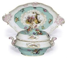 A MEISSEN (OUTSIDE DECORATED) OVAL SOUP TUREEN, COVER AND STAND  THE PORCELAIN CIRCA 1765, THE DECORATION 19TH CENTURY
