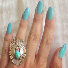 Blue almond shape nails