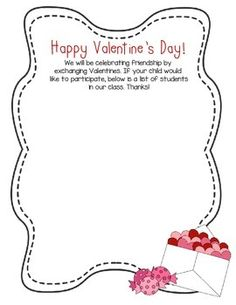 This is a free template for a Valentine's Day class list to give to parents and students to fill out valentines.
