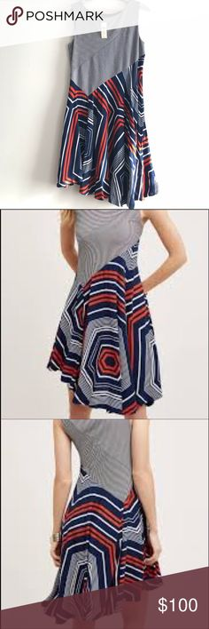 Anthropologie Maeve Striped Dress Size Large Anthropologie Maeve Striped Dress Size Large. Orange, Blue & White. NWT. Mint condition. Beautiful dress for spring/summer!! Longer on right side than left, asymmetrical Hem. Anthropologie Dresses Asymmetrical