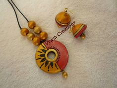 Terracotta Jewellery Making, Terracotta Jewellery Designs, Polymer Clay Necklace, Clay Earrings, Funky Jewelry, Handmade Jewelry, Teracotta Jewellery, Beaded Necklace Patterns, Ornaments Design