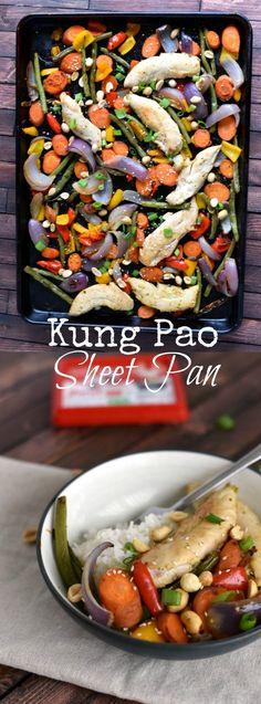 This healthy and easy Kung Pao Chicken sheet pan meal is healthy, easy, and prefect for a busy weeknight!  via @GingeredWhisk