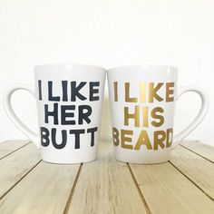 I Like His Beard I Like Her Butt Newly Wed Coffee Mug Gift Set - Beard Butt Cups - Wedding Gifts For Couple - Gifts For Him