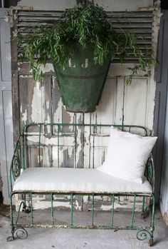 the re-purposed bench . Modern Country, Country Decor, French Country, Bench Swing, Porch Bench, Vintage Shutters, Porches, Shutter Doors, Romantic Cottage