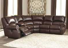 Collinsville Chestnut Zero Wall Power Reclining Extended Sectional w/ Storage Console,Signature Design by Ashley