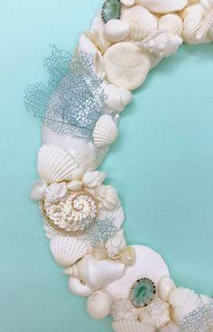 Beach Decor Seashell Wreath with Natural by SeashellCollection