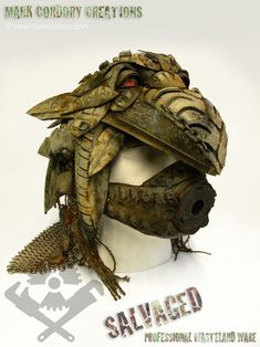 Post Apocalyptic 'shaman helmet'. Made entirely from tyres and inner tubes. Enquiries always welcome @ www.markcordory.com