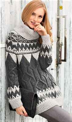 Lovely long sweater/pulli with ribbed bottom band, colourwork raglan yoke and band (above ribbing) with cabled torso section between the colorwork sections. A ribbed cowl-neck softens the look nicely.