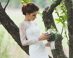 Ausgestattet Stil Spitze Hochzeitskleid mit langen Spitzen Ärmeln L38, romantisches Brautkleid, klassische Brautkleid, benutzerdefinierte Kleid, rustikale Kleid