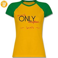 Statement Shirts - You Are The Only Exception - S - Gelb/Grün - L195 - zweifarbiges Baseballshirt / Raglan T-Shirt für Damen - Shirts mit spruch (*Partner-Link)