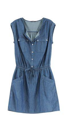 Long Denim Shirt Dress, Blue Denim Dress, Frock Fashion, Denim Fashion, Fashion Dresses, 2t Girl Clothes, Clothes For Women, Denim Top, Classy Dress
