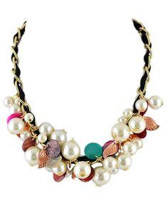 Halskette mit Perlen besetzt-schwarz 7.30