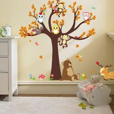 Tree Animal Cartoon Vinyl Wall stickers for kids rooms 90*30cm