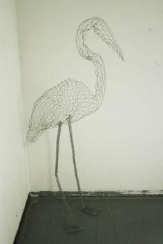 chicken wire sculpture   standing crane by Heather June