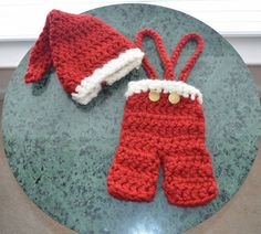 Handmade Crochet Christmas Overalls  I wonder if this would fit the Elf on the Shelf??