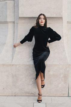 #orovicafashion #velvet #turtleneck #lbd Every Woman, Lbd, Black Velvet, Turtleneck, High Neck Dress, Outfits, Dresses, Women, Style