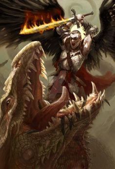 St. Michael slaying the Dragon by tegehel(Cyril Van Der Haegen). DeviantART