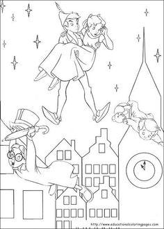 Tinkerbell : Peter Pan and Darling kids Coloring Pages >> Disney Coloring… Peter Pan Coloring Pages, Coloring Pages For Boys, Colouring Pages, Coloring Books, Kids Coloring, Coloring Sheets, Peter Pan Disney, Peter Pan And Tinkerbell, Peter Pan Kunst