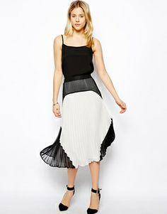 ASOS Premium Pleated Midi Skirt in Colourblock