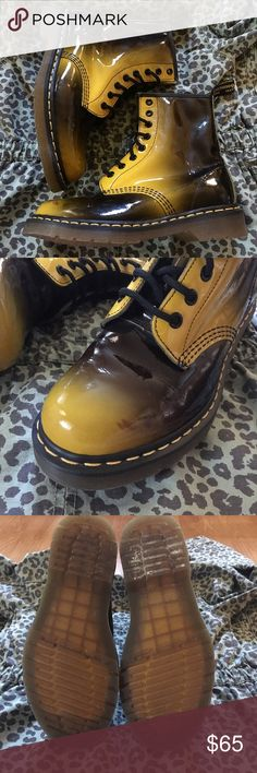 Black & Yellow Doc Martens Amazing patent finish doc martens in yellow and black. Great statement shoes! Very lightly worn, practically brand new. A few small scuffs (pictured) but not really noticeable while on. Doc Martens Shoes Ankle Boots & Booties
