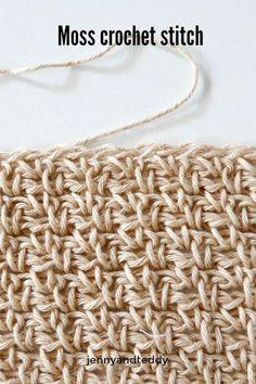 Crochet Stitches For Beginners moss stitch crochet tutorial beginner friendy by jenyyandteddy Moss Crochet Stitch, Easy Crochet Stitches, Moss Stitch, Tunisian Crochet, Crochet Hook Sizes, Free Crochet, Knit Crochet, Crochet Patterns, Crochet Sweaters