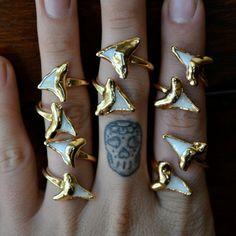 LUX DIVINE /// Shark ToothWrap Ring /// Gemstone Gold Electroformed Ring - Lux Divine