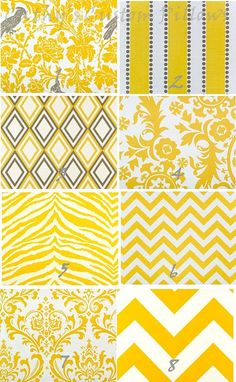 YELLOW CHEVRON CURTAINS Premier Fabric Collection Two Drapery Panels 50 x 84 Corn Diamonds Elephant Geometric