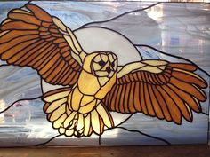 Stained Glass Barn Owl Framed Panel Window Animal |
