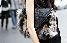fur clutch #streetstyle #fashion #leather #accessories