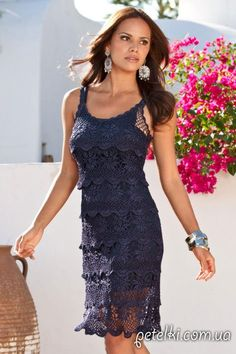 Вязаное платье крючком от Boston Proper. Схемы, мастер-класс