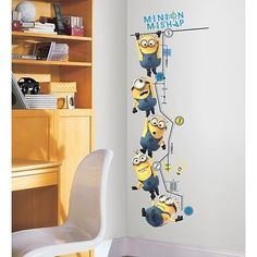 DESPICABLE ME 2: Growth Chart Wall Decals Room Decor Stickers MINIONS MISHAP