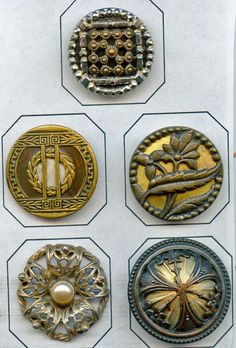 SOLD: 5 ornate metal buttons antique and vintage buttons $29.00