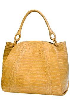 Cart your stuff in style Beautiful Handbags, Beautiful Bags, Fashion Moda, Fashion Bags, Crocodile, Leather Bag, Leather Handbags, Bags 2014, Mellow Yellow